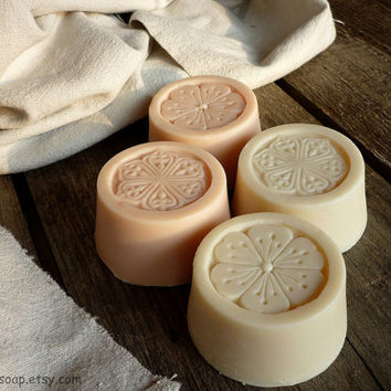 4 bars of goat milk soap with rose