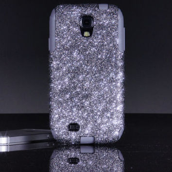 Otterbox Galaxy S4 Case Custom Glitter Commuter Smoke/Grey Galaxy S4 Otterbox Sparkly Bling Glitter Case
