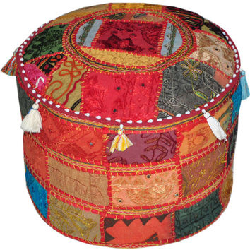Pretty Bohemian Indian Pouf Ottoman Stool Vintage Patchwork Living Room Ottoman Hassock bench furniture pouffe footstool chair bean bag