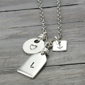 Initial Necklace,Personalized Charm Necklace, Heart Necklace, Name Necklace,Custom Initial Necklace,Anchor Necklace, Silver Initial Necklace