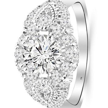 d.1.5 Carat 14K White Gold Designer Vintage Halo Milgrain GIA Certified Round Cut Diamond Engagement Ring (0.75 Ct I Color VS1 Clarity Center Stone)