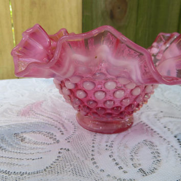 Fenton Cranberry Hobnail Candy Dish, Ruffled Fenton Candy Dish, Cranberry Hobnail Candy Dish, Christmas Gifts, Candy Dish, Ruffled Bowl