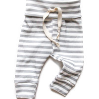 Organic Drawstring Baby Leggings Gray Stripes