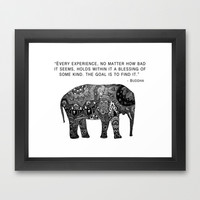 Buddha Quote with Henna Elephant Framed Art Print by Madeline Margaret