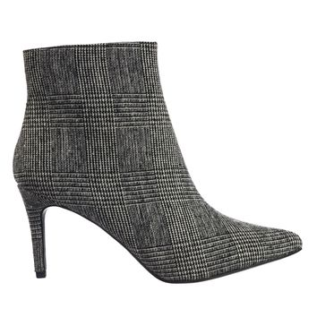 Success Tweed Plaid Ankle Bootie w High Heel Pointed Toe