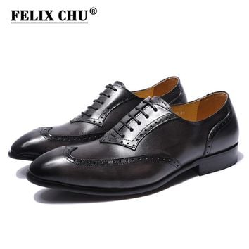 FELIX CHU Genuine Leather Lace Up Men Gray Brogue Oxford Casual Business Footwear Man Dress Shoes With Wingtip Detail