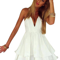 White Spaghetti Strap Double Layer Cami Chiffon Dress