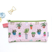 House Plants Divided Pencil Case with pockets (handmade philosophy's pattern)