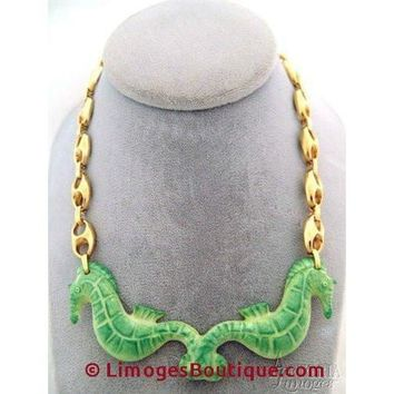 Sea Horse Necklace: Green Limoges Box
