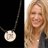 Personalized necklace,Initial Charm,Celebrity Style Necklace,Celebrity initial necklace,Bridesmaid gifts,Wedding bridal Jewelry