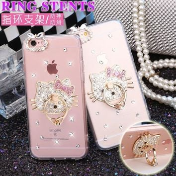 For Samsung Galaxy S9 S9 plus Note 8 Back Phone Case Diamond Gem Fashion Hello Kitty Stand Holder Transparent Phone Hard Cover
