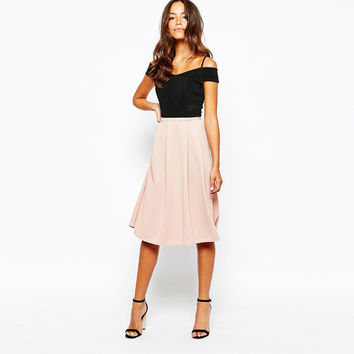 Pink A-Line Pleated Midi Skirt