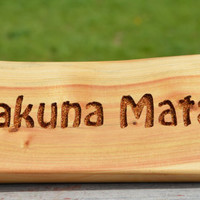 Hakuna Matata, Disney's Lion King, Magic Words, Shelf décor, Desk Sign, Carved Wood, Recovered Wood, Priority Shipping, The Jolly Geppetto