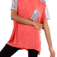 Limelight Sequin Top - Coral