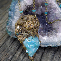 Mermaid aqua aura quartz druzy shimmering gemstone necklace