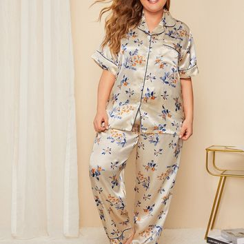 Plus Floral Contrast Binding Satin Pajama Set