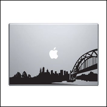 "Sydney skyline Vinyl Decal / Sticker to fit Macbook Pro 13"" 15"" 17"" - Custom sizes available - precision die cut urban cityscape Australia"