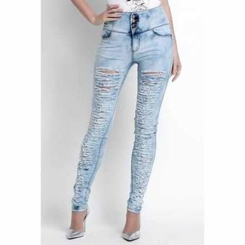 Fashionable Destroy Wash High-Waisted Skinny Jeans For Women - 29