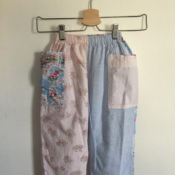 Vintage Shabby Chic Patchwork Girls Summer Pants size 4 Vintage 1990s Childrens Clothes Little Girl Pants