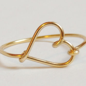 Cute small heart ring made on gold colored copper wire - reduced price