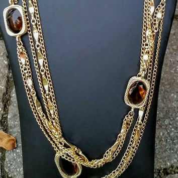 "Vintage Sarah Coventry Goldtone Amber Glass Bead Multi-strand Necklace, 52"" - Retro Chic / Boho Chic / Art Deco / Autumn / Gift / Classy"