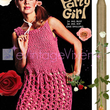 Dolly Dress Extreme Knitting with Jumbo Knitting Needles 1960s Instant Download PDF Club Festival Summer Resort Holiday Lister Party Girl