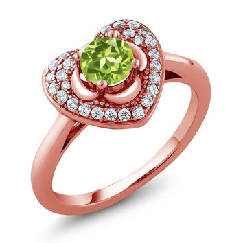 0.77 Ct Round Green Peridot 18K Rose Gold Plated Silver Heart Ring