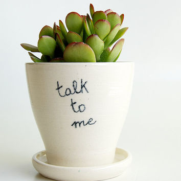 White Planter and Saucer, Message, Comics, Bubble Speech, Pottery by RossLab (made to order)