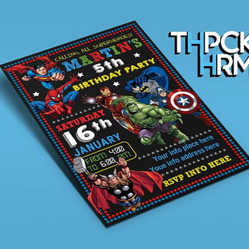 The Superheroes Invitation Birthday Inivtation The Superheroes by THPCKHRM Printable Etsy, The Superheroes, The Superheroes Printable