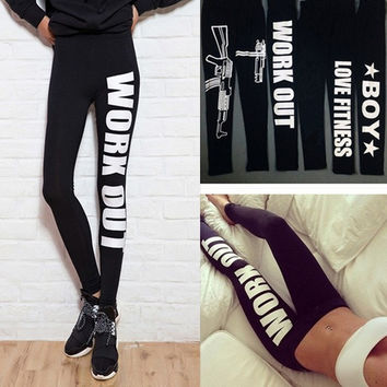 Women Sexy Capri Running sport Pants Work out Cropped Leggings Fitness Trouser = 1705946628