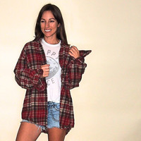 Vintage Flannel, Plaid Button Up 90s Grunge Red Brown 100% Cotton Comfy Oversize
