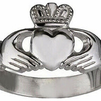 PURE Authentic Sterling silver .925 Celtic Claddagh Love friendship Best friends ring Irish Jewelry like Angel gave Buffy the vampire slayer