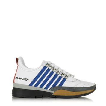 DSquared2 Designer Shoes 251 White and Blue Leather Sneaker