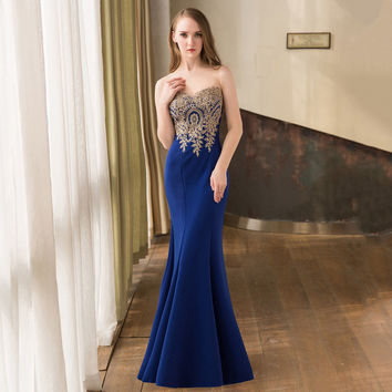 Stock Sheer Neck Royal Blue Mermaid Evening Dresses with Gold Appliques Long Plus Size Prom Dress Party Gowns 2016