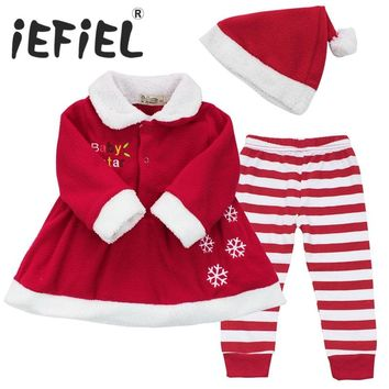 Winter Newborn Infant Babys Girls Christmas Gift Dress Tops+Striped Pants+Hat Clothes Sets Outfits for Toddler kids SZ 9-24M