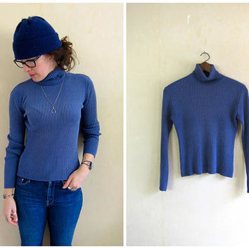 90s SILK Knit Shirt Blue Ribbed Turtleneck Top Cotton Rib Shirt Thin Sweater Top 1990s Minimal Basic Preppy Long Sleeve Top Womens XS Small