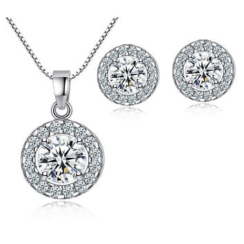 White Gold Halo Crystal Pendant Necklace Stud Earrings Set