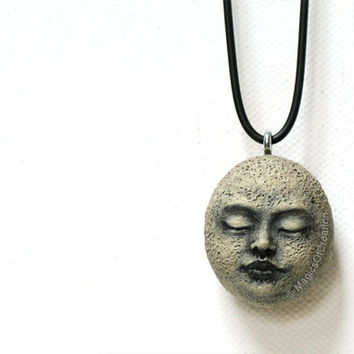 Unique unusual stone art necklace, original sculpture on river stone, hand sculpted and hand painted. Great for meditation or nature lovers