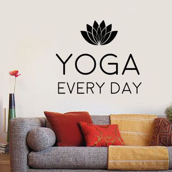 Vinyl Wall Decal Motivation Quotation Words Yoga Lotus Flower Stickers (2510ig)