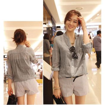 Women Tops Fashion Korean Style Autumn Linen Shirt Long Sleeve Blouse Chemisier