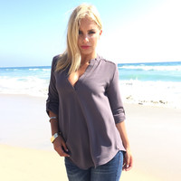 Send Me On My Way Blouse In Smoke Grey