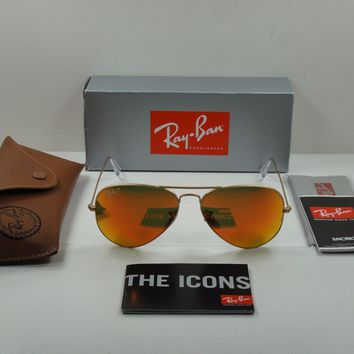 RAY-BAN AVIATOR POLARIZED SUNGLASSES RB3025 112/4D GOLD FRAME/ORANGE LENS 58MM