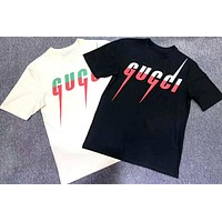 GUCCI 2019 new color matching logo printing round neck half sleeve T-shirt