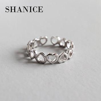 SHANICE Women 100% Real Pure 925 Sterling Silver Open Ring Simple Smooth Hollow Heart Shape Plane Opennig ring Pary Jewelry