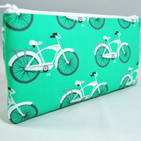 Bright aqua green Bicycle small zipper pouch, clutch, pencil case, makeup brush holder
