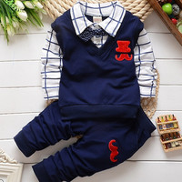 Spring&Autumn Baby Boy Clothing Set Blouse+Pant Tracksuit set Kids ClothesChildren Boy Gentleman suit sport suit set