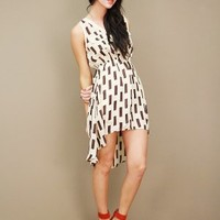 square print polka dot dress in cream and cocoa with high-low hemline | shopcuffs.com