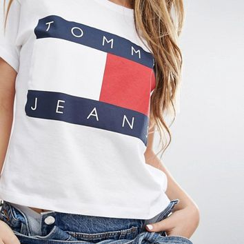019a2925 Tommy Jeans Crop Logo T-shirt at asos.com from ASOS