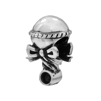 Individuality Beads Sterling Silver Baby Rattle Bead (Grey)