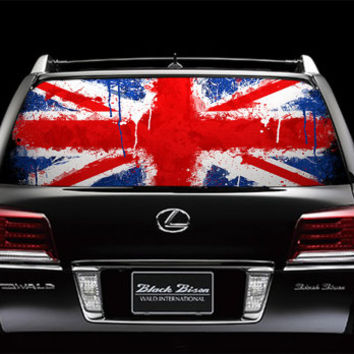 Perfik62 Full Color Print Perforated Film Truck SUV Back Window Sticker flag britain